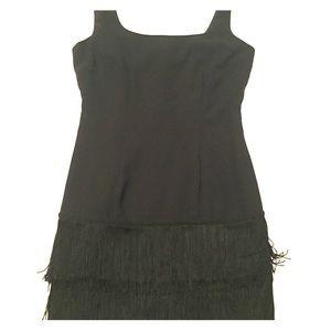 Black Fringe Cocktail Dress Size 4 petite